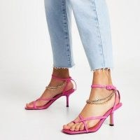 RIVER ISLAND Pink PU chain detail mid heel sandal ~ ankle strap sandals