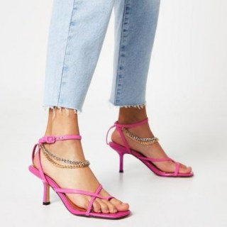 RIVER ISLAND Pink PU chain detail mid heel sandal ~ ankle strap sandals - flipped
