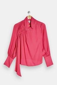 TOPSHOP Pink Shoulder Ruched Top