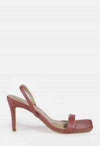 MISSGUIDED pink square toe slingback mid heels / barely there slingbacks