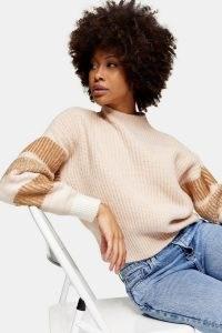 TOPSHOP Pink Stripe Sleeve Knitted Jumper
