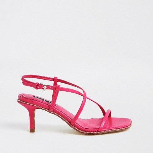RIVER ISLAND Pink studded skinny low heels ~ strappy evening heels - flipped