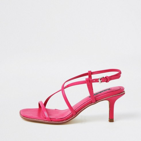 RIVER ISLAND Pink studded skinny low heels ~ strappy evening heels