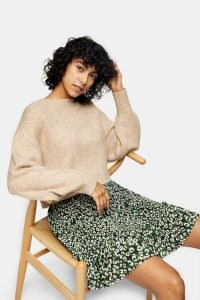 Topshop Pleated Camouflage Animal Print Mini Skirt | frill hem skirts