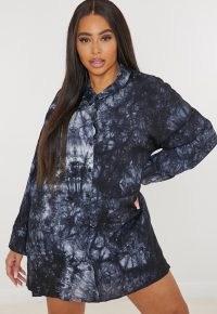 MISSGUIDED plus size navy tie dye oversized shirt dress