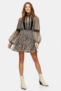 TOPSHOP Print Lace Trim Mini Dress / feminine semi sheer floral dresses