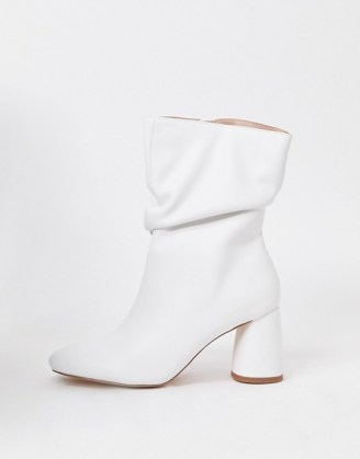Public Desire Marshmallow slouch boots in white ~ slouchy block heel boot - flipped