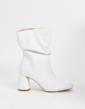 Public Desire Marshmallow slouch boots in white ~ slouchy block heel boot
