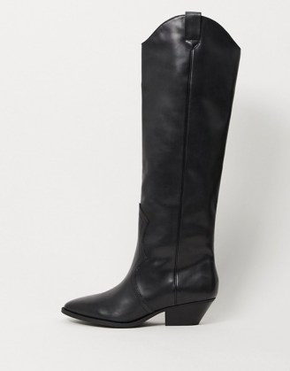 Pull&Bear pull on western knee high boots in black - flipped