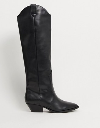 Pull&Bear pull on western knee high boots in black