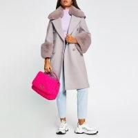RIVER ISLAND Purple faux fur cuff swing coat / winter coats