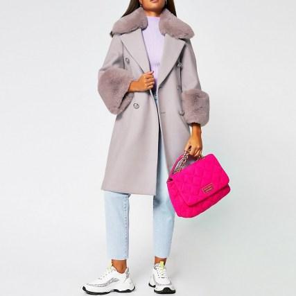 RIVER ISLAND Purple faux fur cuff swing coat / winter coats - flipped