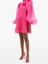 ELZINGA Pussy-bow silk-organza mini dress | bright pink balloon sleeve dresses | retro evening fashion