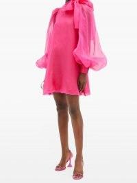 ELZINGA Pussy-bow silk-organza mini dress | bright pink balloon sleeve dresses | retro evening fashion