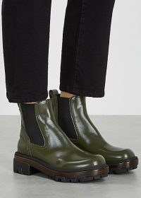 RAG & BONE Shaye army green leather Chelsea boots ~ chunky sole ankle boots ~ round toes