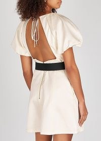REBECCA VALLANCE Winona ivory satin mini dress | opend back detail | puff ball sleeve dresses