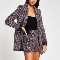 RIVER ISLAND Red boucle button front short ~ tweed style shorts