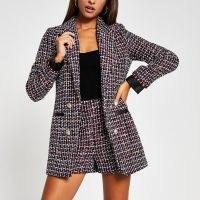 RIVER ISLAND Red boucle Pu trim long sleeve blazer ~ tweed look blazers