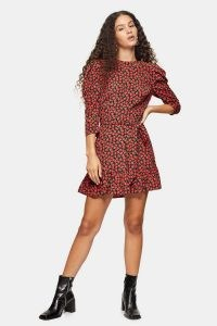TOPSHOP Red Grunge Rose Mini Dress ~ floral dresses