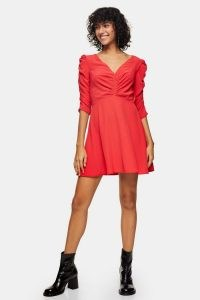 TOPSHOP Red Ruched Front Mini Dress
