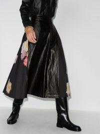 Rejina Pyo Belma pleated floral faux leather midi skirt