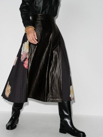 Rejina Pyo Belma pleated floral faux leather midi skirt