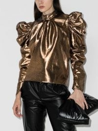 Rejina Pyo Sofia Lamé blouse / statement puff sleeves / gold tone evening tops