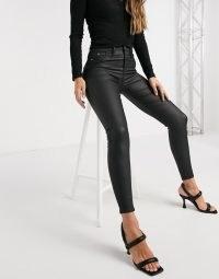 River Island Molly waxed coated skinny jeans in black | skinnies | dark denim