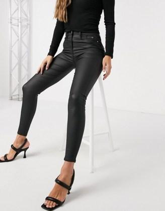 River Island Molly waxed coated skinny jeans in black | skinnies | dark denim - flipped