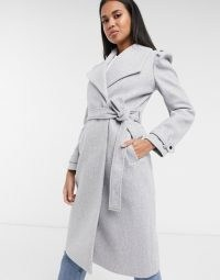 River Island puff sleeve belted robe coat in light grey | puffed shoulder wrap coats