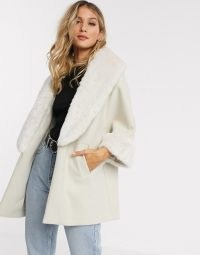 River Island relaxed coat with faux fur trims in cream / glamorous winter coats / luxe style outerwear