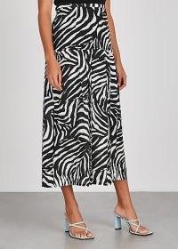 RIXO Nancy zebra-print silk midi skirt | mono animal stripes | black and white skirts