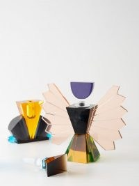 REFLECTIONS COPENHAGEN Rochester large crystal perfume flacon ~ art deco scent bottles ~ multicoloured glass ~ vintage style dressing table accessories