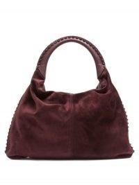 VALENTINO GARAVANI Rockstud-embellished suede shoulder bag ~ studded burgundy handbag ~ autumn colours