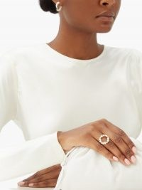 ANISSA KERMICHE Rond de Perles diamond, pearl & 14kt gold ring ~ luxe accessories ~ circle rings ~ pearls and diamonds