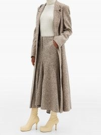 PETAR PETROV Ronly fluted-hem wool-blend tweed midi skirt ~ brown fluted autumn / winter skirts