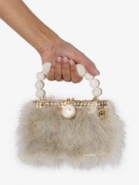 Rosantica nuvola faux pearl clutch bag | small fluffy evening bags | glamorous mini party handbag