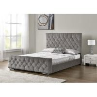 Ararat Upholstered Bed Frame by Rosdorf Park – chenille fabric – detailed with diamante crystals