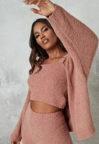 Missguided rose popcorn knit balloon sleeve cardigan | pink textured cardigans | fashionable knitwear