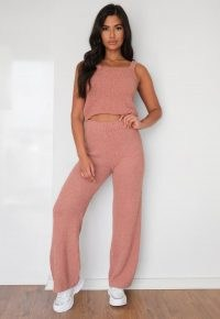 Missguided rose popcorn knit wide leg trousers | knitted loungewear | textured knitwear