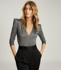 REISS ROSIE LONG SLEEVED METALLIC BODYSUIT SILVER / deep V neck bodysuits / structured shoulders