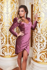 ruby holley asymmetric corset dress in diamante rose velvet | sweetheart neckline party dresses