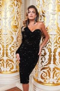 ruby holley one sleeve cluster velvet sequin midi dress in black | glamorous party dresses | glittering LBD