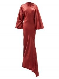RICK OWENS Ruched mock-neck latex maxi dress ~ red asymmetric event gowns