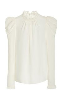 Zimmermann Ruffled Silk Blouse | high neck puff sleeve blouses | victorian style fashion