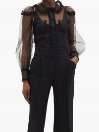 FENDI Ruffled tulle blouse ~ semi sheer balloon sleeve blouses