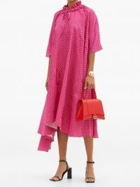 BALENCIAGA Ruffle-neck polka-dot jacquard crepe dress / pink spot print dresses / flowing fabric