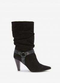 MINT VELVET Ryder Black Suede Slouchy Boot | stirrup detail slouch boots