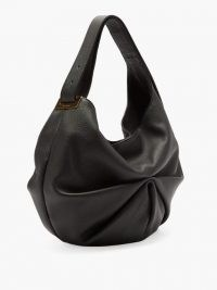 TSATSAS Sacar ruched slouchy-leather shoulder bag ~ black pleated handbag
