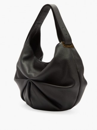TSATSAS Sacar ruched slouchy-leather shoulder bag ~ black pleated handbag - flipped
